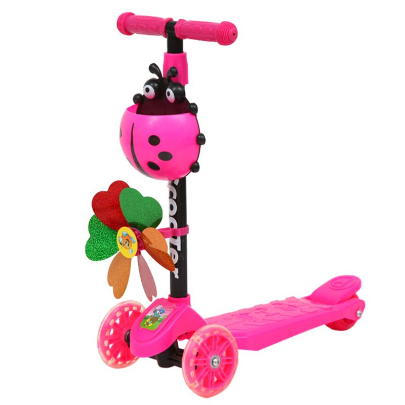 Windmill Ladybug Scooter Foldable and Adjustable Height Lean to Steer 3 Wheel Scooters for Toddler Kids Boys Girls Age 3-8 | Happy Baby Mama