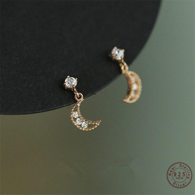925 فضة 14K الذهب الفرنسية أقراط الكريستال النساء الموضة الجوف القمر أقراط ضوء مجوهرات الزفاف الفاخرة