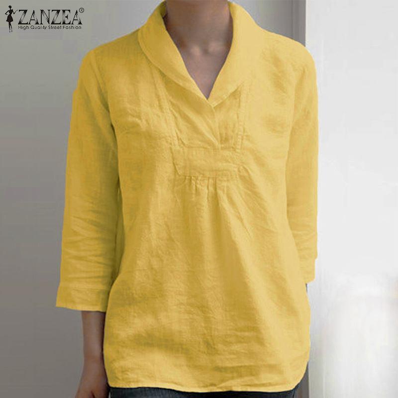 2020 ZANZEA Fashion 3/4 Sleeve Shirts Elegant Casual Summer Tunic Women's Blouse Basic Tops Female Lapel Blusa Plus Size Chemise