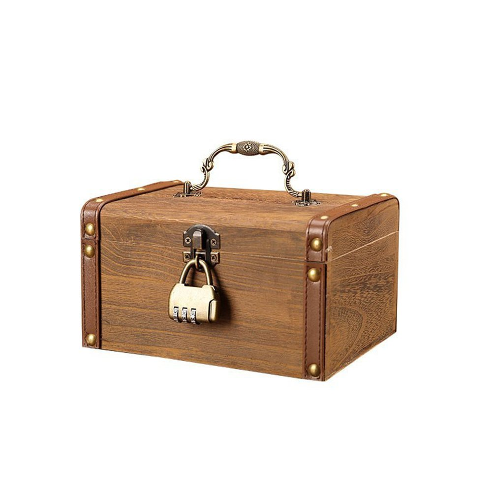 Household Small Safe Deposit Box Child Little Girl Creative Wooden Piggy Bank Retro Desktop Storage Box
