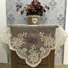European Luxury Square Embroidery Mesh Tablecloth Furniture Electrical Dust Cover Cloth Placemat Balcony Coffee Table Mat Decor