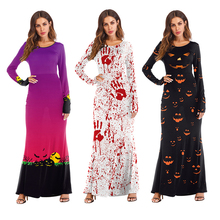 Scary Ghost Halloween Costume Women Dress Bloody Funny Skinny Pumpkin Long Sleeve 3D Print Clown Cosplay Polyester 2019