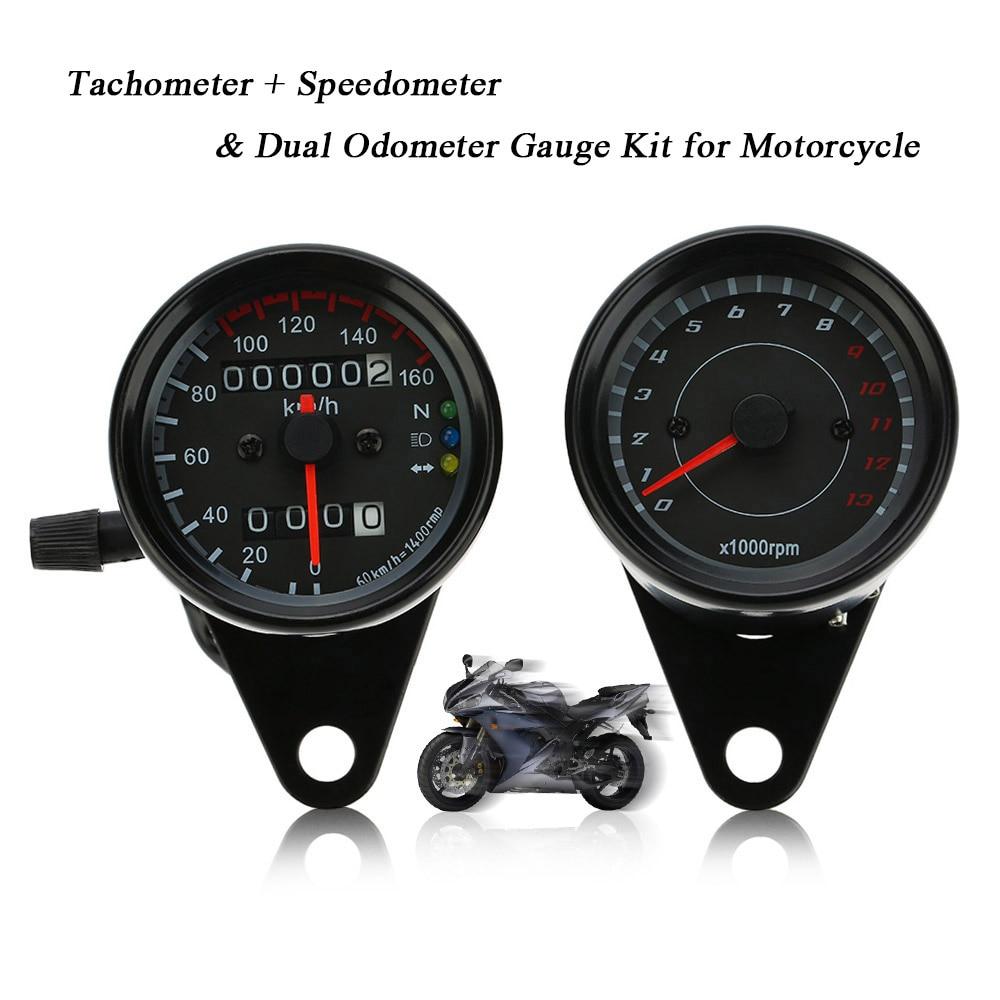 12V Universal Digital Motorcycle Gauge LED Signal Motorcycle Meter Speedometer Retro Dual Odometer Gauge Motorcycle Accessories