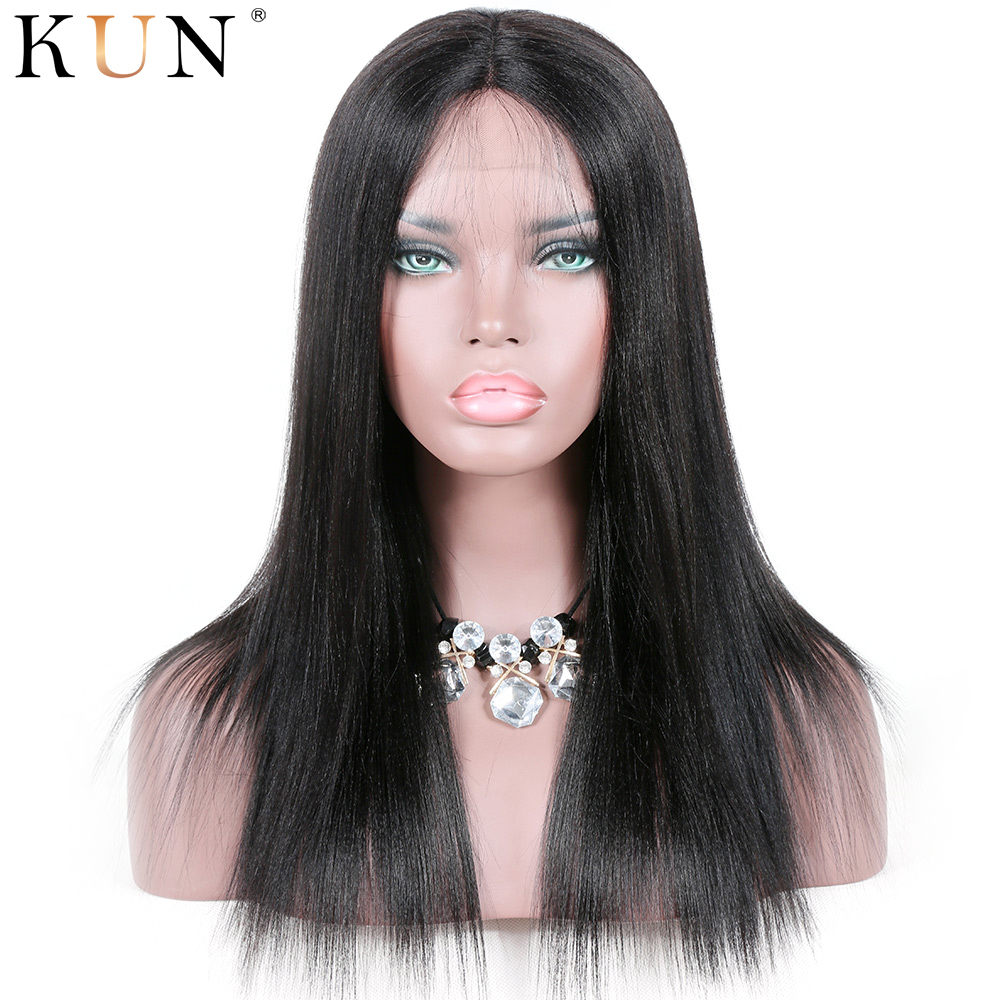 150 180 Density Yaki Straight Human Hair 360 Lace Frontal Wig 4.5 & 6 Inch Parting Brazilian Remy Pre Plucked With Elastic Bands