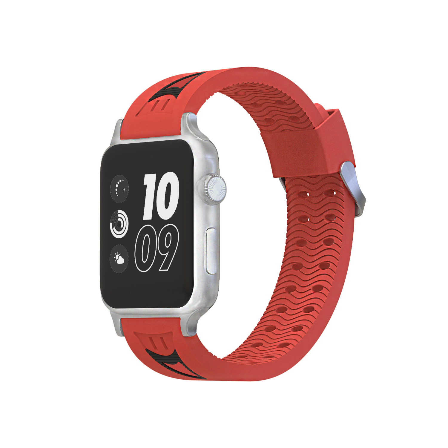Foreign Trade New Style For Apple AppleWatch Smiley Sports Watch Strap IWatch Double Color Silicone Watch Strap 44 Size