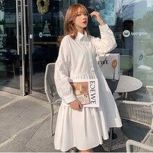 Платье рубашка с длинным рукавом белое черное лето осень 2020