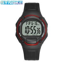 SYNOKE klasik görünüm elektronik saat erkekler için şok dayanıklı Led Alarm komple takvim İşlevli erkek kol saati dijital