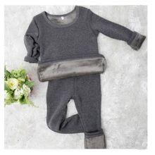 2pcs/set Mirco Velvet Children Boys Pajamas Thermal Underwear Girl Sleepwear Long