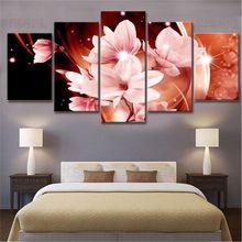 5 шт цветок лилии стены искусства розовые холст для живописи