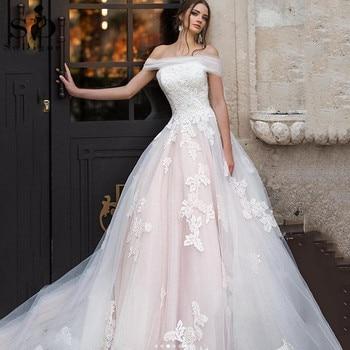 Vestido de Boda de Princesa SoDigne, apliques de encaje, sin hombros, línea...