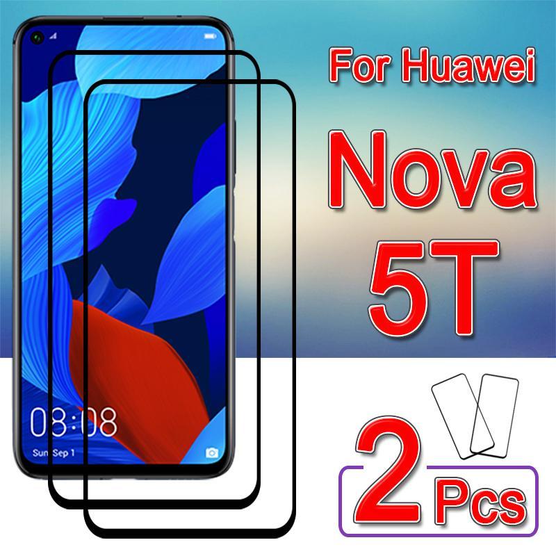 Protetor de tela de vidro temperado, vidro protetor para huawei nova 5 t, nova5t, 5 t, t5 filme 2 peças