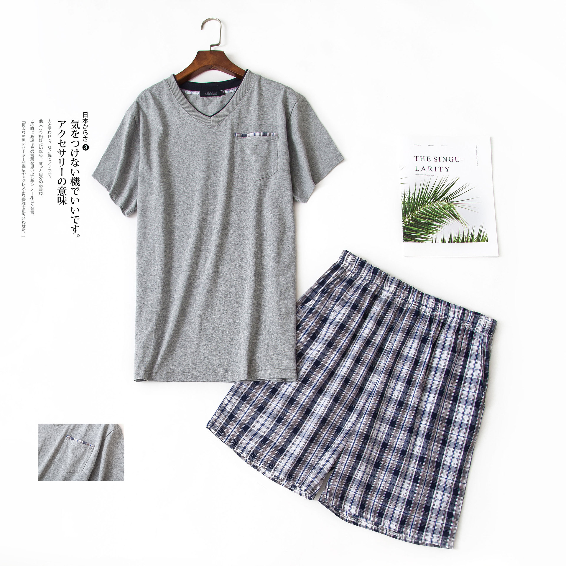 Men Summer New Round Collar 100%Cotton Woven Short-Sleeved Shorts Home Wear Comfortable Lounge 2PCS Pajamas Suit