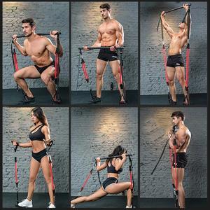 Фитнес-штанга, браслет сопротивления для сборки, штанга сопротивления с регулируемым поясом, Портативная Домашняя гимнастическая система ...