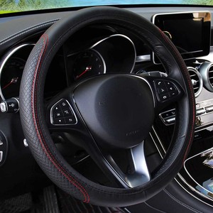 Image 2 - Universal Car Steering Wheel Cover Skidproof Auto Steering  Wheel Cover Anti Slip Embossing Leather Car styling Car Accessories