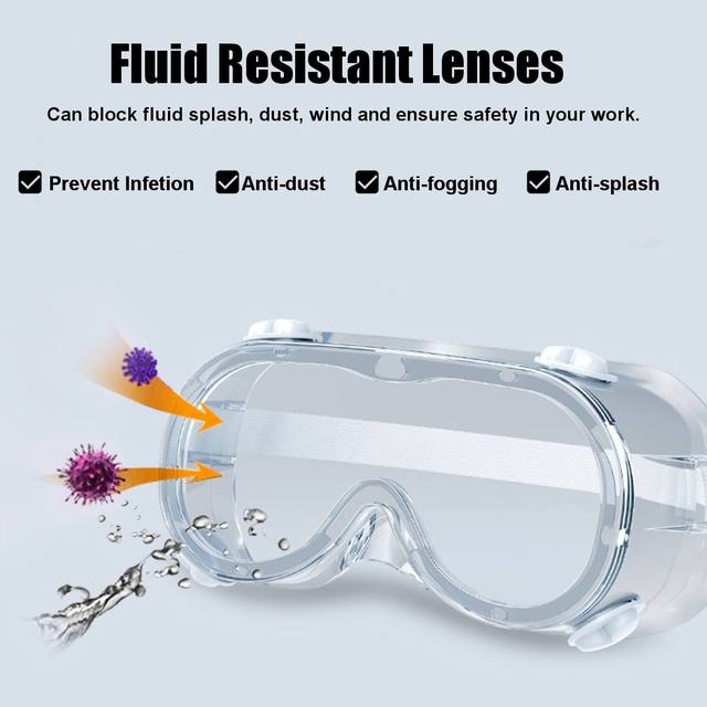 2 Type Protective Safety Goggles Wide Vision Disposable Indirect Vent Prevent Eye Mask Anti-Fog Splash Goggles 3
