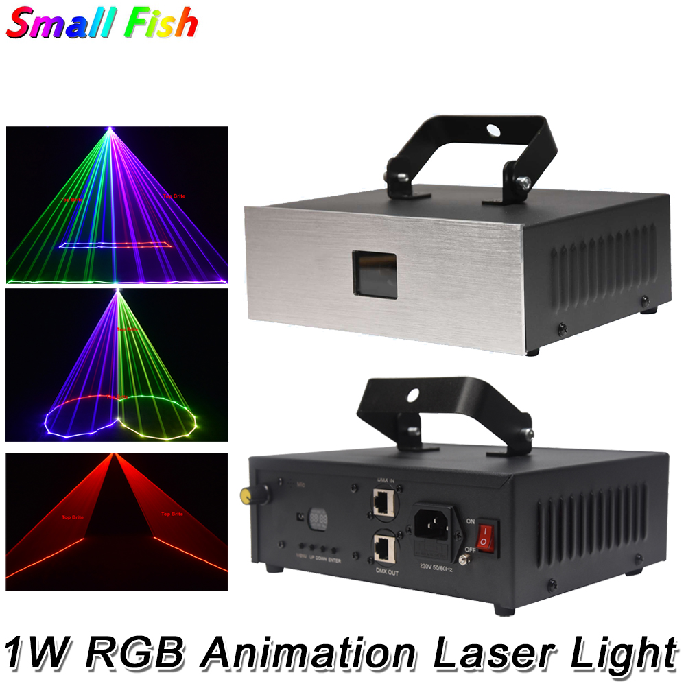 1W RGB 3IN1 Animation Laser Light DMX 512 Controller Laser Line Scanner Stage Lighting Effect Laser Projector DJ Light Bar Disco