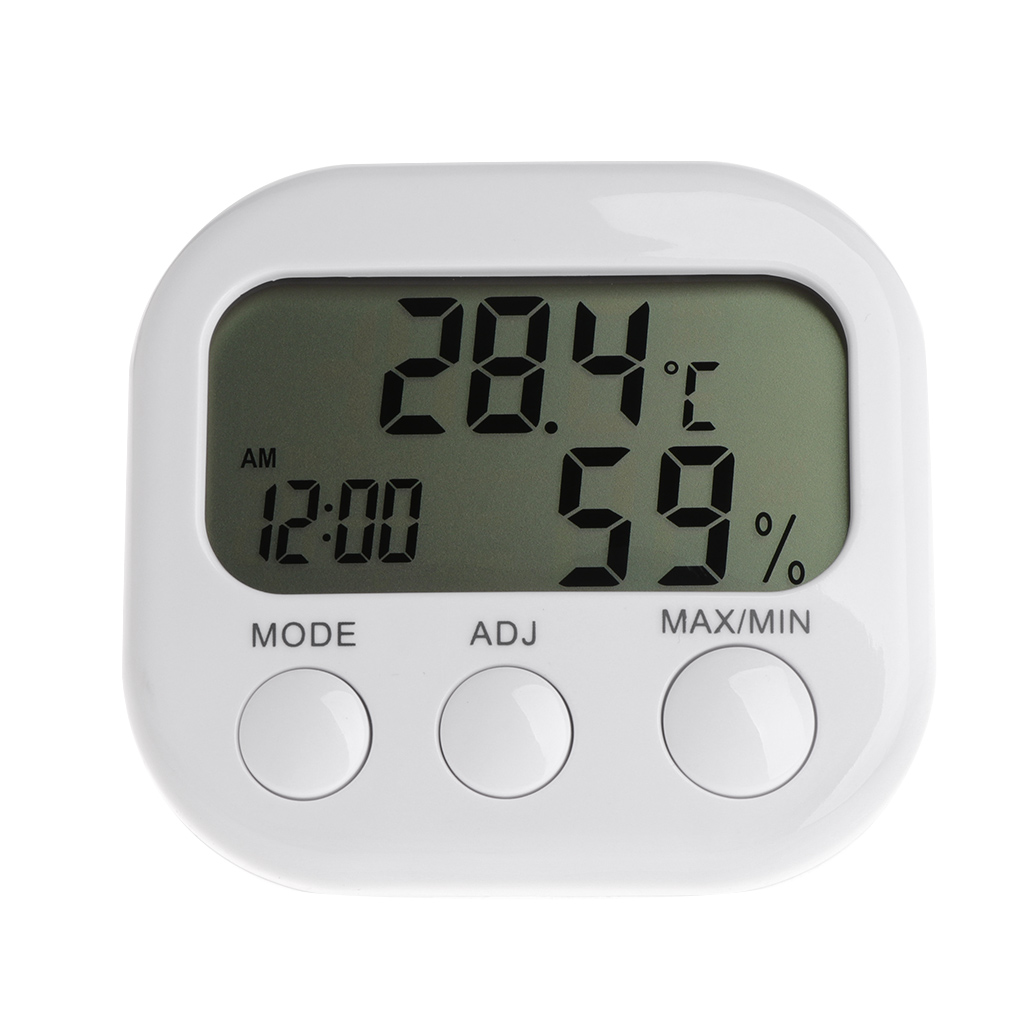 Digital LCD Thermometer Humidity Meter Hygrometer Max Min Air Temperature Clock