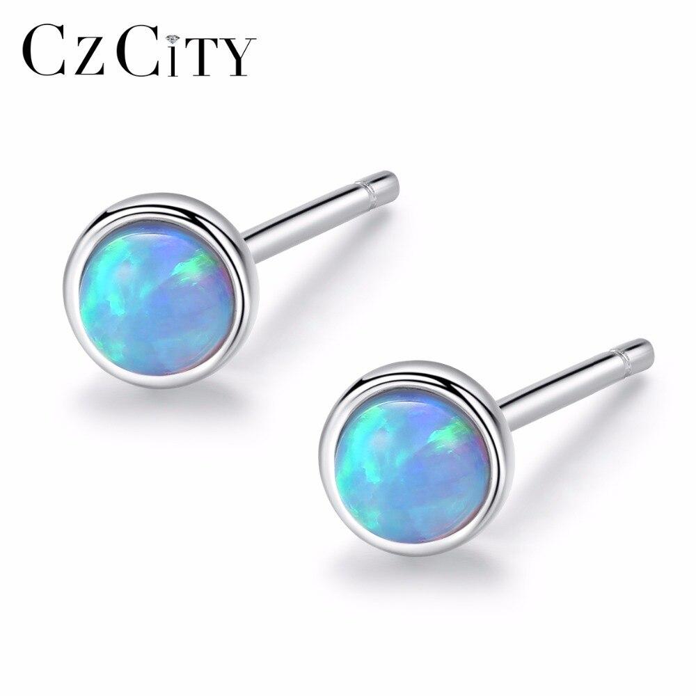 CZCITY Fire Opal Earrings Silver 925 Elegant Small Sterling Silver Blue Opal Hamsa Stud Earing For Women Orecchini SE0234
