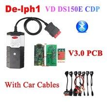 2020 Best V3.0 PCB obd2 Scanner DS150E CDP 2016.R0 keygen bluetooth diagnostic tool for delphi autocoms 8 pcs car cables
