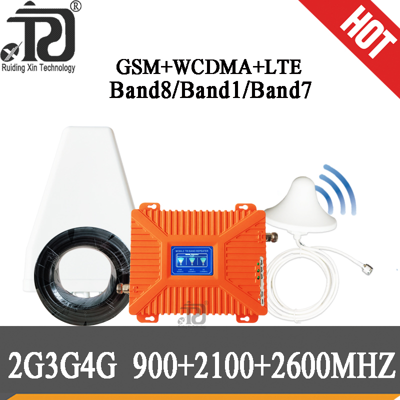 2019 Russia Amplifier 4g GSM Signal Booster 2G 3G 4G 900 2100 2600 70dB GSM UMTS LTE Tri Band Mobile Phone Repeater GSM 2g 3g 4g