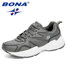 BONA 2020 New Designers Stylish Action Leather Running Shoes Men Thick Sole Walk