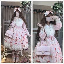Милое женское платье принцессы с принтом клубники и десертов