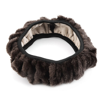 New 3 Colors Winter Steering Wheel Cover Artificial Wool Heated Steering Wheel Cover Plush Steering Wheel Cover Car-styling image