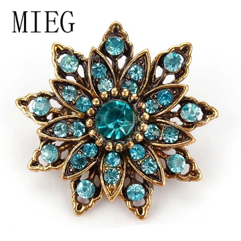 MIEG Vintage Gold Color Plated Flower Brooches For Women Wedding Rhinestone Bouquet Bijoux Pins Clothing Jewelry Accessories