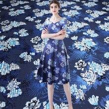 Pearlsilk Blue Flower Brocade Little Hard Fabrics Wool and Polyester Materials Autumn Evening Dress Sewing Cloth Freeshipping