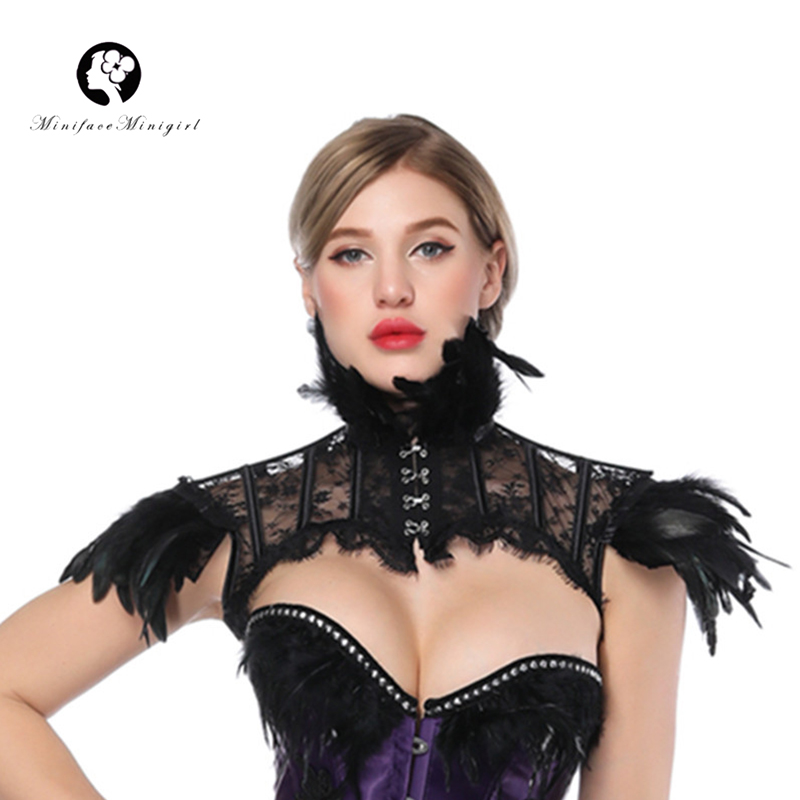 Ladies Black Ruffled Gothic Lace Silk Halloween Fancy Dress Costume Shrug