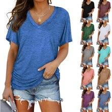 Tops Women 2021 Solid Color V-Neck T Shirt Women Side Shirring Bat Sleeve Loose Casual Cotton Harajuku T-shirt summer clothes