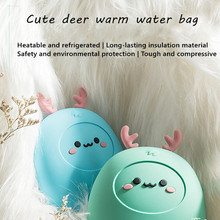 Cute deer silicone hot water bottle water heating water bag microwave heating safety explosion-proof silicone hot water bottle cute cat design hand warmers cooler reusable heating ice cooling muscle injury ice compress gift