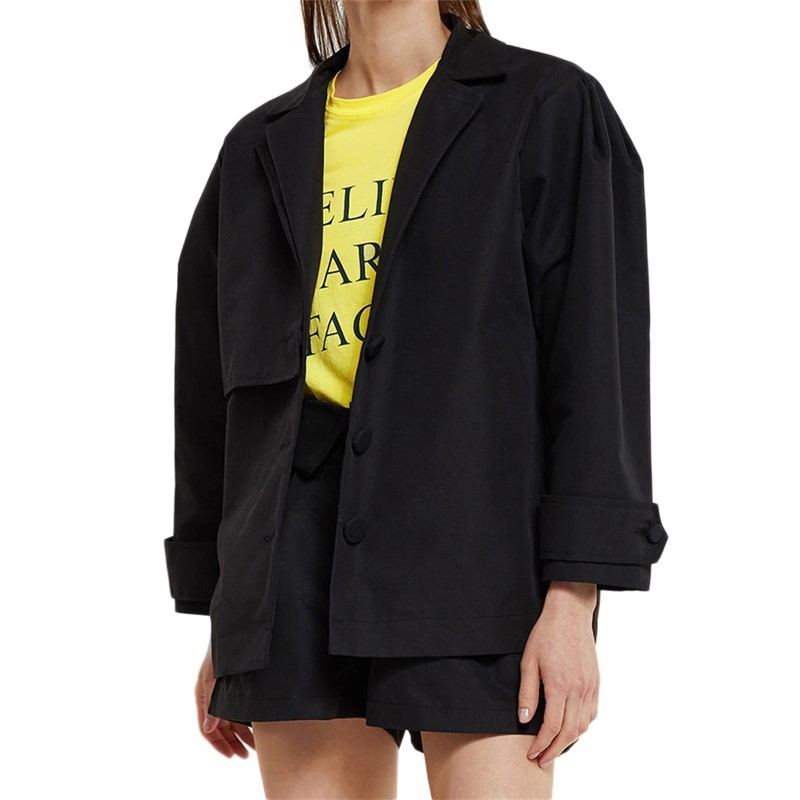Spring Autumn Fashion Blazer Cute Loose Solid Color Single-breasted Long Sleeve SML Black Woman Casual Blazers Lady Jackets