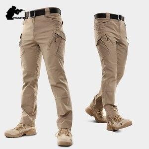 Image 2 - חדש גברים של למתוח טקטי מכנסיים מרובה כיס צבאי כותנה עירוני Combat מכנסיים גברים Slim עבודת מטענים צפצף 3XL BFIX79