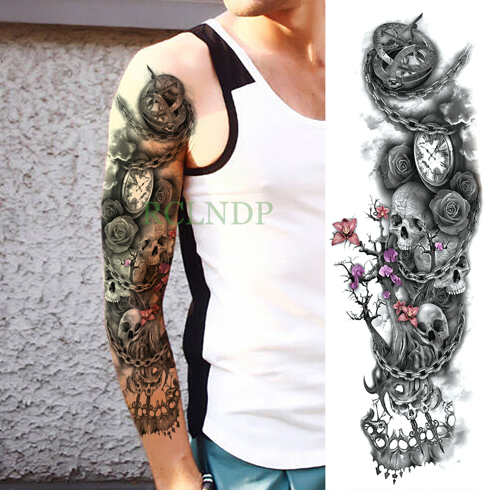 Waterproof Temporary Tattoo Sticker Rose Clock Skull Flower Full Arm Large Size Fake Tatto Flash Tatoo Sleeve For Men Women Girl