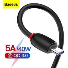 Baseus 5A USB C tipi kablo hızlı şarj tipi c kablosu için Huawei Mate 20 P30 P20 Pro Lite xiaomi mi 9 Samsung S10 USB-C şarj cihazı