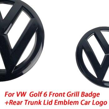 Блестящий черный значок 135 мм на переднюю решетку + 110 мм эмблема на заднюю крышку багажника, логотип автомобиля подходит для VW Volkswagen Golf MK6 2008 2013|Эмблемы|   | АлиЭкспресс