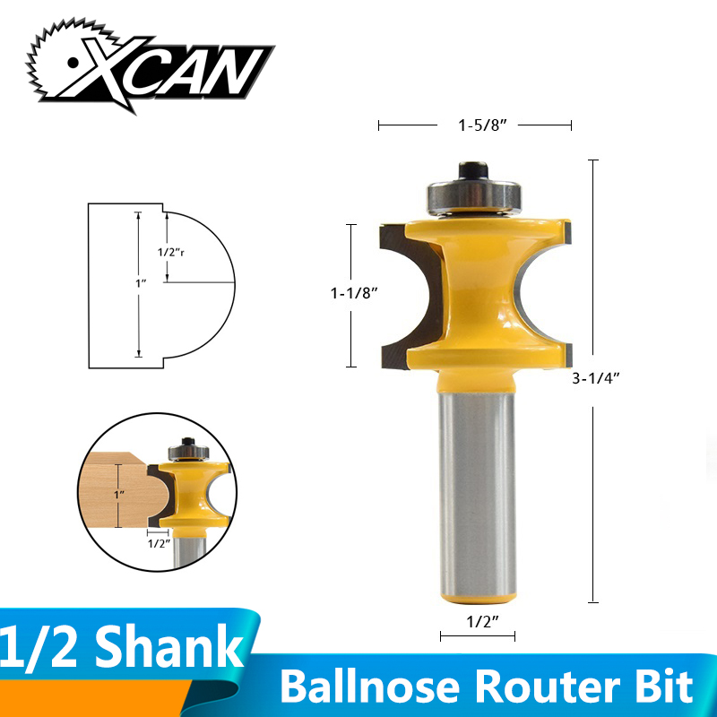 XCAN 1pc 1/2''(12.7mm) Shank Bullnose Router Bit Ball Nose End Mill Wood Radius Milling Cutters Wood Concaving Edging Router Bit