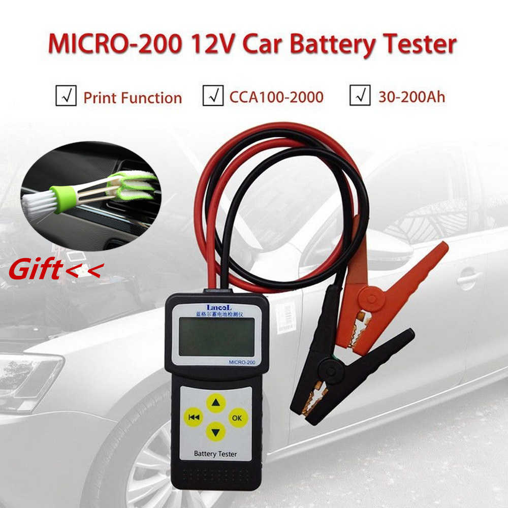 Micro 200 12V probador de batería de coche CCA100-2000 herramienta de diagnóstico de coche Analizador de sistema de batería automotriz USB para impresión