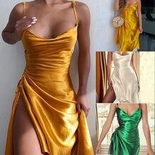 Verão feminino sem mangas espaguete cinta cetim vestido sexy sem costas lado split ruched vestido mulher assimétrico na altura do joelho vestidos