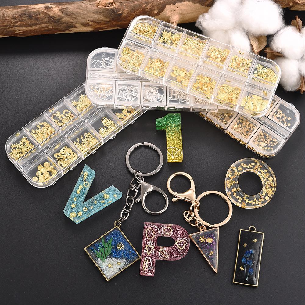12 Grids/Set 3D Hollow Nail Art Decoration Metal Mixed Golden Heart Star Filler Epoxy Resin Filling Material DIY Jewelry Crafts