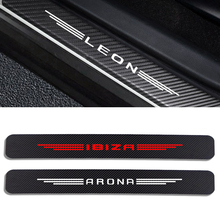 4 шт., защитные наклейки из углеродного волокна для порога автомобиля Seat Leon MK3 MK2 Ibiza 6J 6L FR Ateca Arona