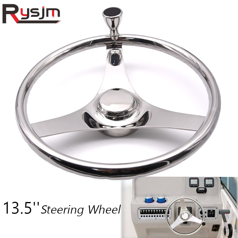 13.5 inch Boat Marine Stainless Steel Steering Wheel 3 Spoke Style With Knob for boat accessories marine boating accesorios