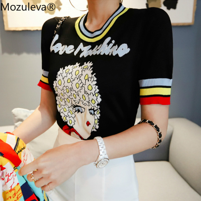 Mozuleva 2019 Girl Pattern Short Sleeve Knitting Cloth Women's Black Top Jacquard Female Pullover Jumper Casual Sweater