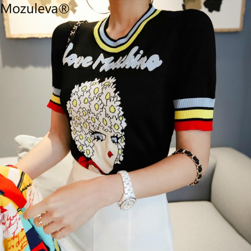 Mozuleva 2019 Girl Pattern Short Sleeve Knitting Cloth Women's Black Top Jacquard Female Pullover Jumper Casual Sweater