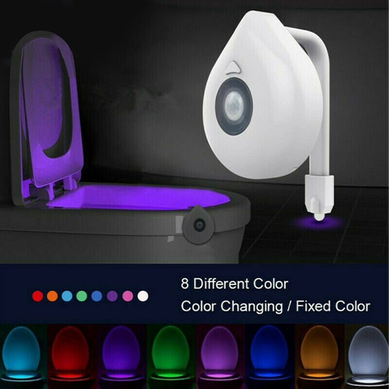 Toilet Night Light Smart Motion Sensor 8 Colors Automatic Cycles Change LED Luminaria Lamp Smart Bathroom Accessories