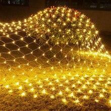 Thrisdar 2*2 متر 3*2 متر 6*4 متر مصابيح إنارة خارجية شبكة صافي الجنية سلسلة ضوء عيد الميلاد عطلة الزفاف نافذة الستار جارلاند ضوء