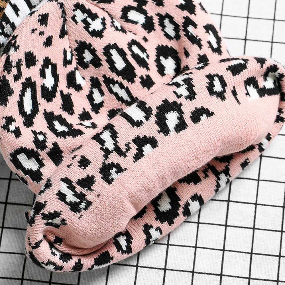 Musim Dingin Beanie Topi untuk Wanita Pria Fashion Leopard Crochet Rajutan Topi Hangat Unisex Beanie Skullies Topi Topi