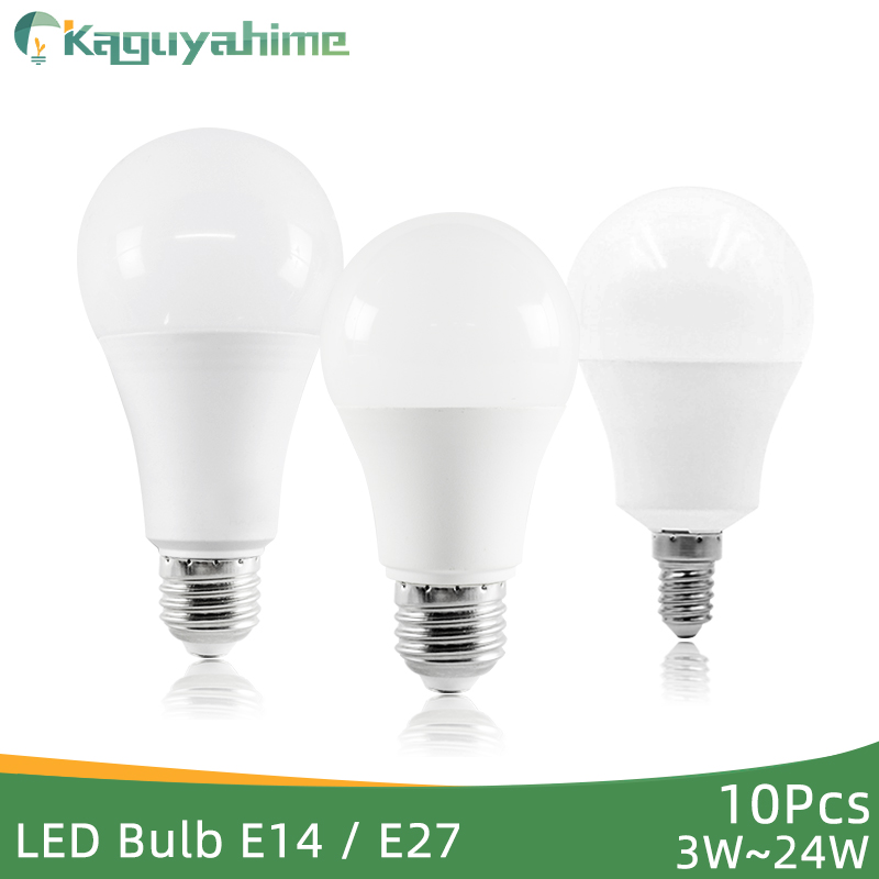 Kaguyahime LED E27 LED Light E14 10Pcs LED Bulb 220V 240V 24W 20W 15W 12W 9W 6W LED Spotlight Lamp Bombilla Lighting Lampada