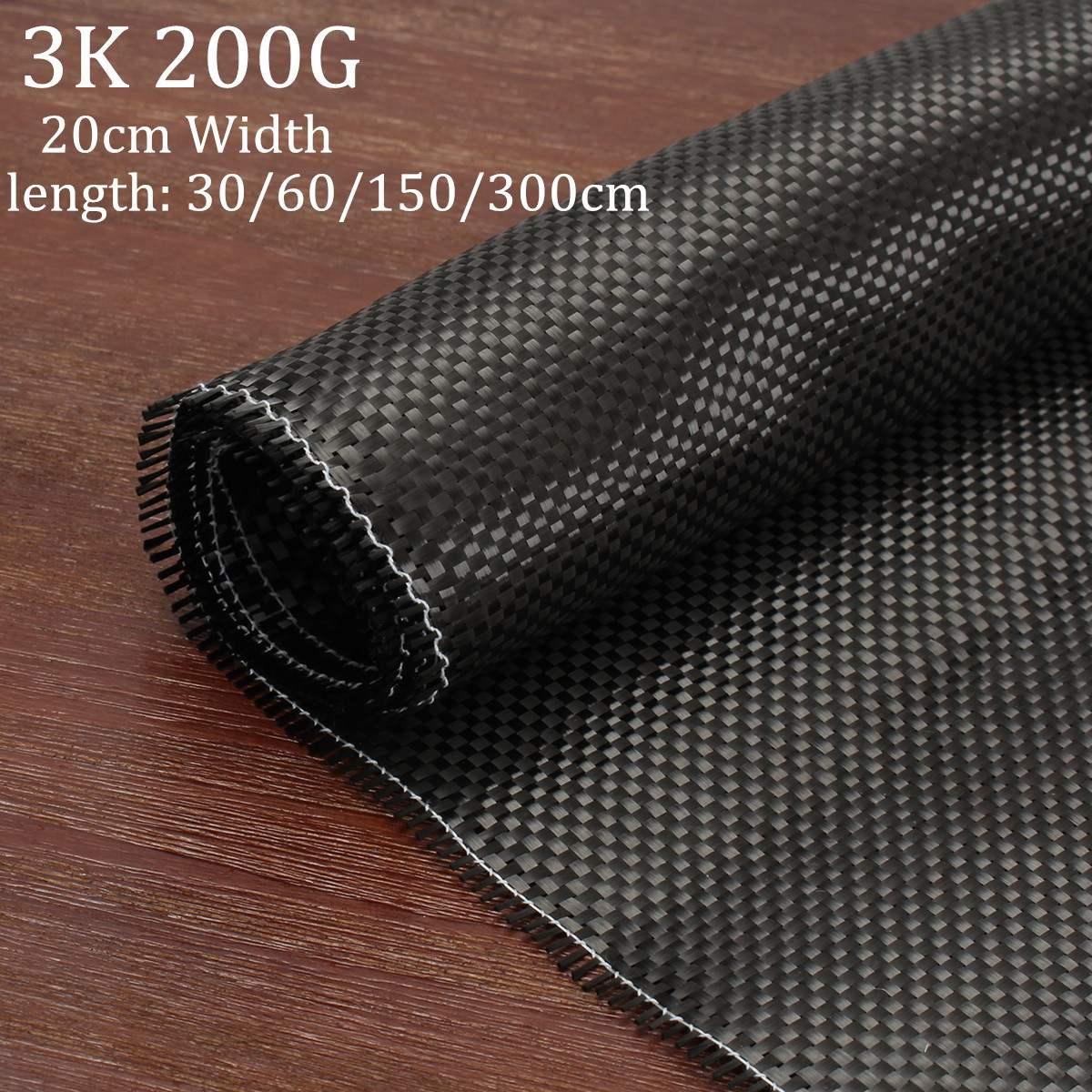 Tela lisa preta do carbono de pano da fibra do carbono de 3k 200g para o equipamento comercial do esporte da parte do carro da espessura de 20cm da largura de 0.2mm